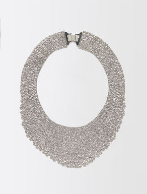 Multi-strand necklace with rhinestones