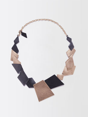 Two-tone metal collar necklace