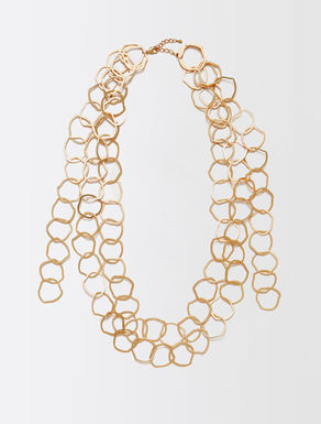 Multi-strand metal necklace