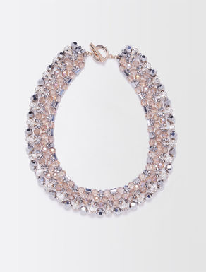 Rhinestone and bead collar necklace