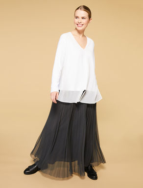 Long pleated tulle skirt