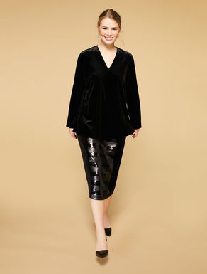 Sequined velvet jersey skirt