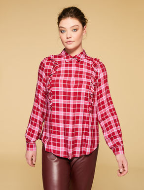 Chequered viscose blouse