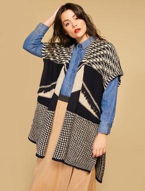 Wool-blend jacquard poncho