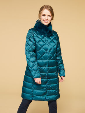Long mother of pearl nylon quilted jacket