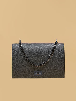 Coated-look shoulder bag