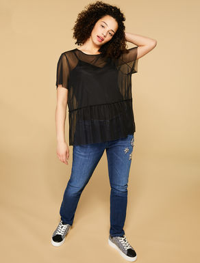Stretch tulle T-shirt