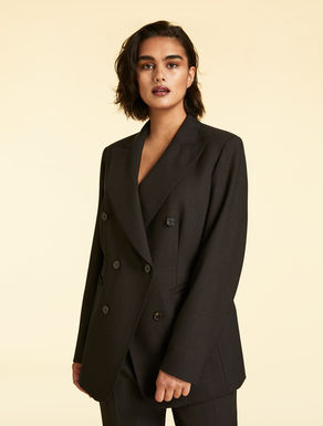 Wool crepe double-cloth jacket