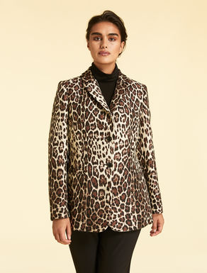 Animal-print jacquard jacket