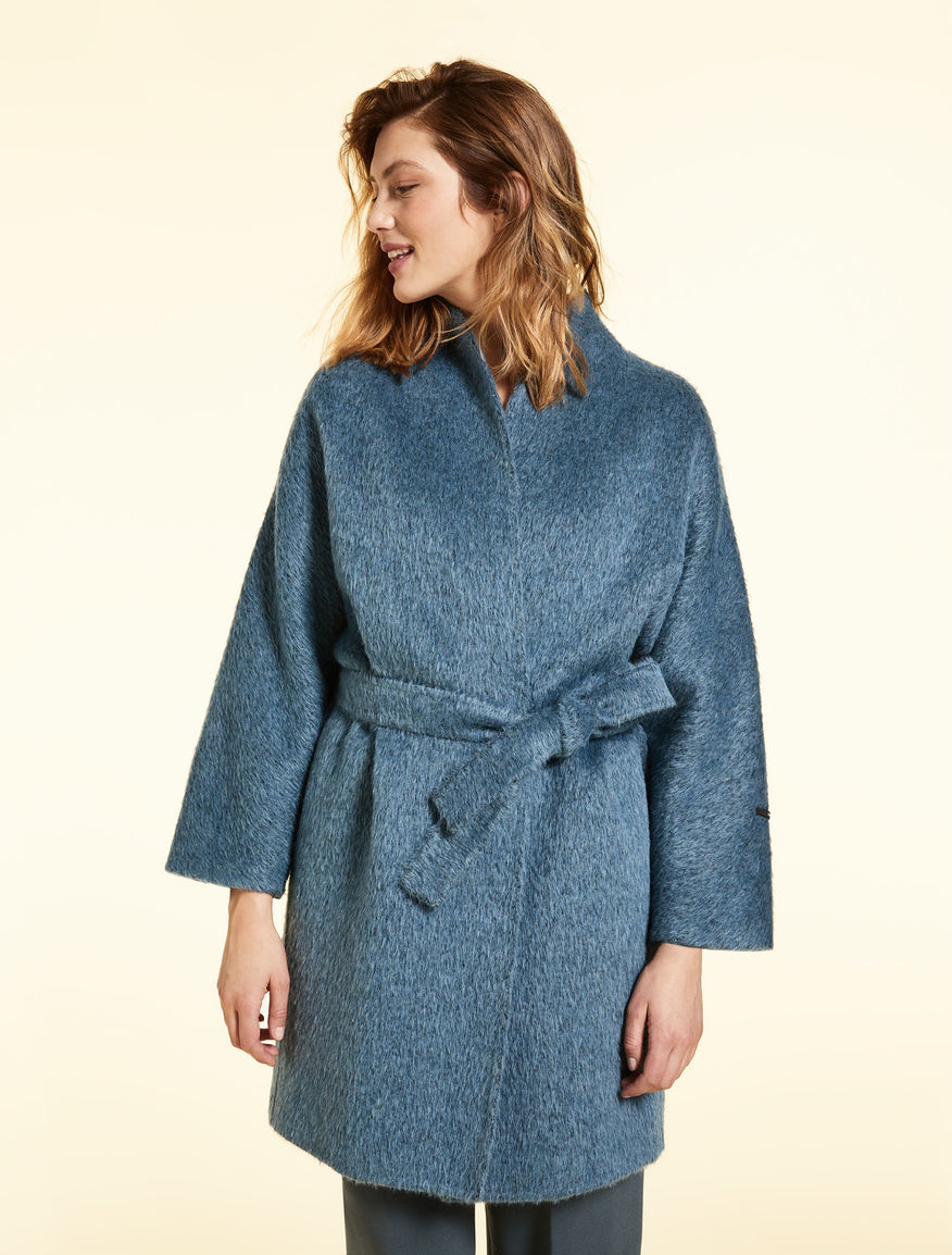 Double-layer wool and alpaca coat