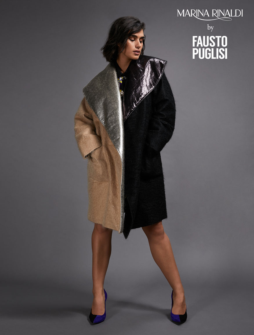 Two-tone mohair coat