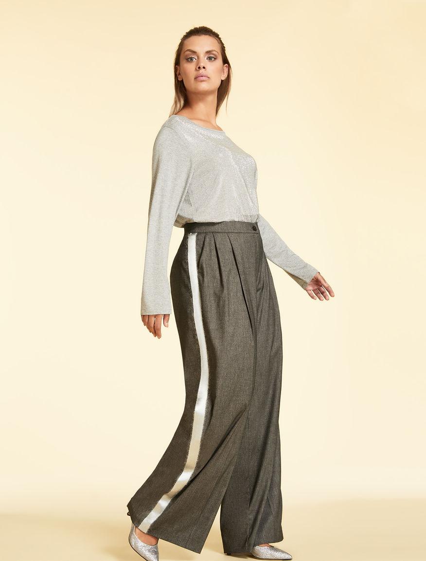 Wool-blend jacquard trousers