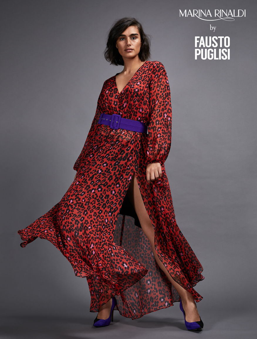 Silk chiffon dress, red -
