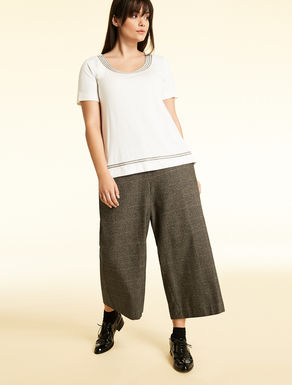 Trousers in wool and cotton check