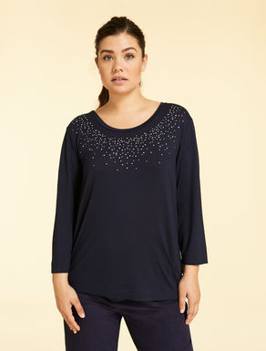 Jersey T-shirt with gems and sequins