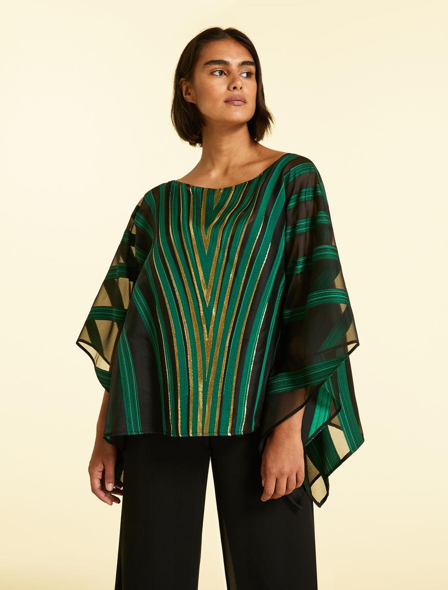 Jacquard poncho-style tunic