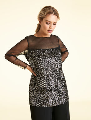 Tulle tunic with embroidery