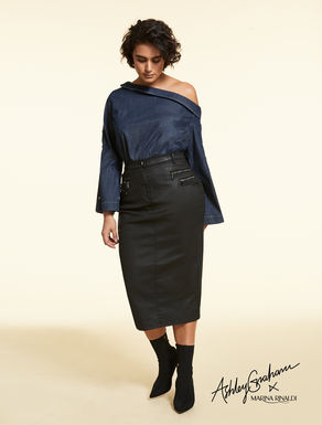 Coated cotton skirt