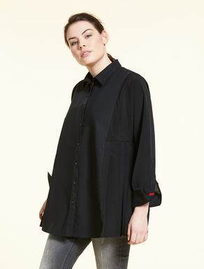 Pleated poplin shirt