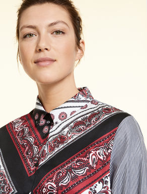 Shirt in printed poplin and twill