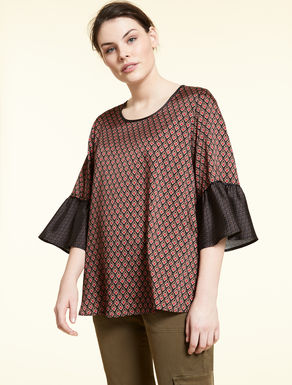 Printed twill blouse