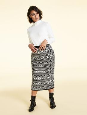 Wool-blend jacquard skirt