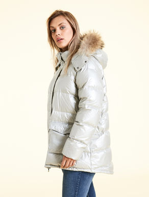 Metallic nylon down jacket