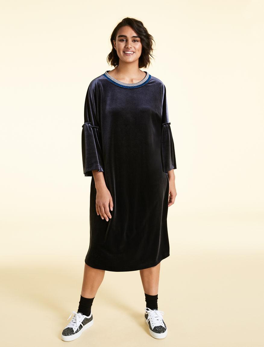Kleid dunkelblau samt