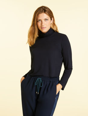 Jersey polo neck jumper