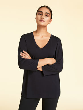 EASY T-shirt V-neck in jersey stretch