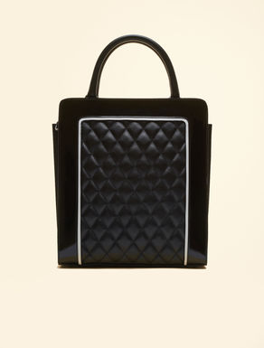Shopper bag in nappa and patent leather