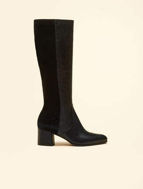 Nappa leather and velvet boots