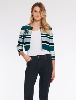 Giacca cropped a righe jacquard
