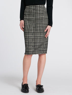 Pied de poule pencil skirt