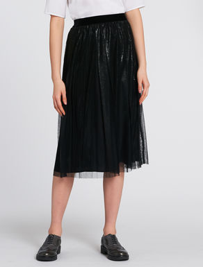 Pleated laminate tulle skirt