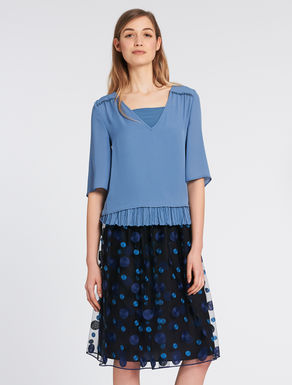 Top with pleated flounce