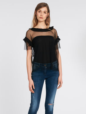 Gathered tulle top