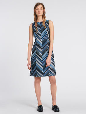 Chevron lamé jacquard dress