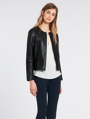 Leather jacket with 3D details