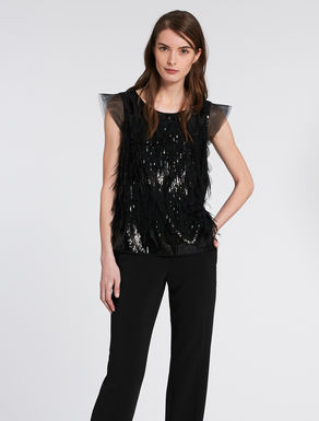 Tulle, feather and sequin top