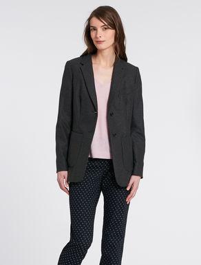 Long-length stretch flannel blazer