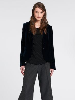 Slim-fit panné velvet blazer