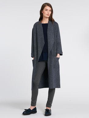 Chiné knitted maxi cardigan