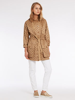 Parka in technical broderie anglaise