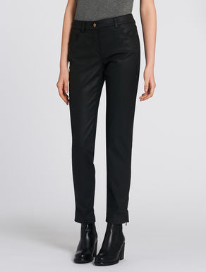 Glossy cotton trousers