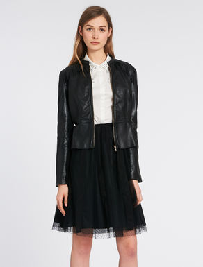 Slim-fit leather jacket with fringes