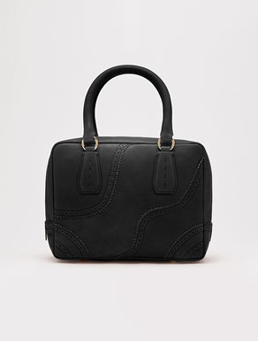 Perforated leather top handle bag