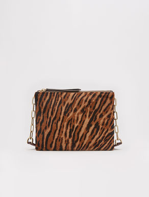 Shoulder strap bag with animalier pattern