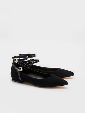 Leather ballerinas with straps