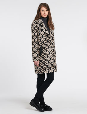 Two-tone jacquard coat